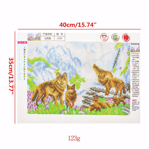 Immagine di 40x35CM Wolves 5D Diamond Painting Embroidery DIY Craft Home Decor