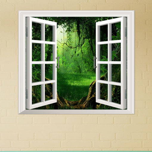 Immagine di Deep Forest PAG 3D Artificial Window View 3D Wall Decals Room Stickers Home Wall Decor Gift