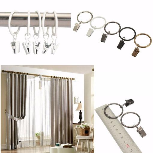 Immagine di 40pcs Metal Window Bathroom Curtain Clips Rings Pole Rod Voile Drapery 32mm Inner Diameter