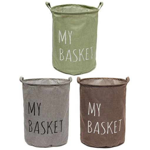 Immagine di Cotton Linen Fabric Foldable Laundry Washing Hamper Bag Clothe Basket Storage Bin