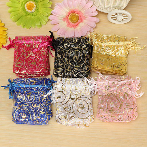 Immagine di 100PCS Organza Gift Pouch Jewelry Gift Candy Bag Packing Drawable Wedding Party Gift Bags