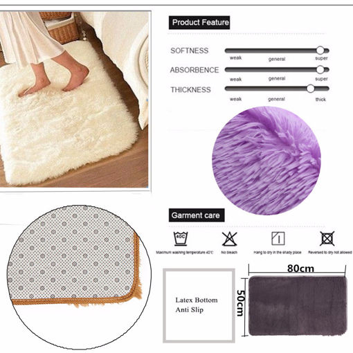 Immagine di 80x50cm Absrobent Shaggy Carpet Home Anti Slip Rug Bedroom Soft Mat