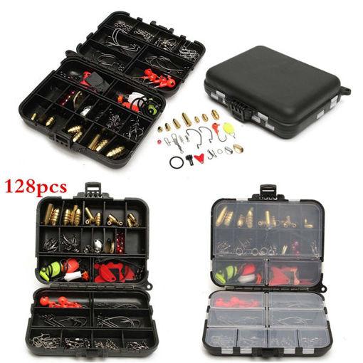 Immagine di 128pcs Fishing Lures Hooks Baits Black Tackle Box Full Storage Case Tool Set