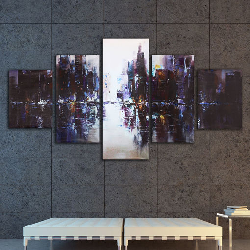 Immagine di 5Pcs Abstract Modern City Canvas Print Paintings Picture Home Wall Decor Unframed