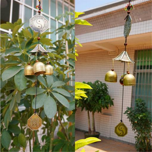 Immagine di Antique Bronze Gossip Wind Chime Outdoor Garden Wind Chimes Three Bells