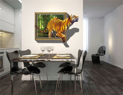 Immagine di 3D Removable Tiger Wall Decal Wall Stickers Home Bedroom Wall Background Decoration