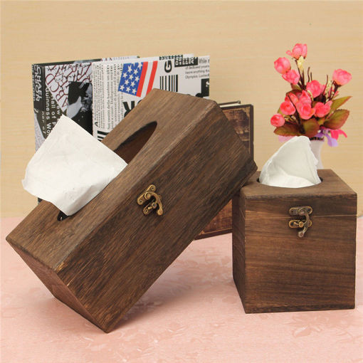 Immagine di Vintage Wood Burning Tong Chinese Restaurant Tissue Box