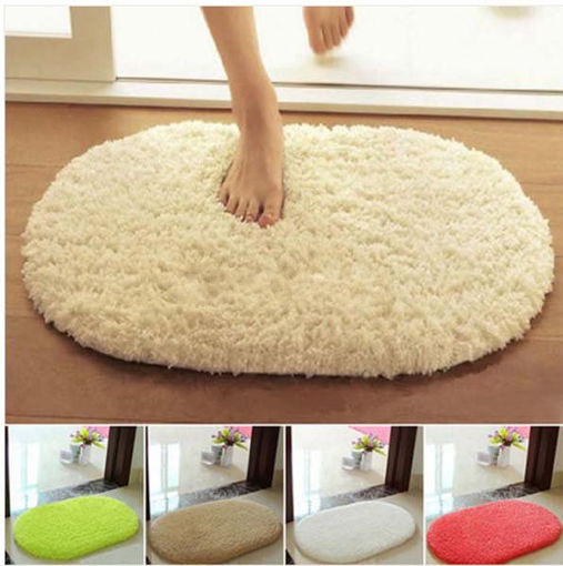 Immagine di 40x60cm Lint Plush Non Slip Absorbent Bathroom Floor Mat Oval Kitchen Carpet Rug