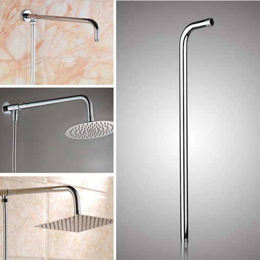 Immagine di 50x10cm Stainless Steel Silver Shower Head Bracket Wall Mounted Tube Bathroom Accessories