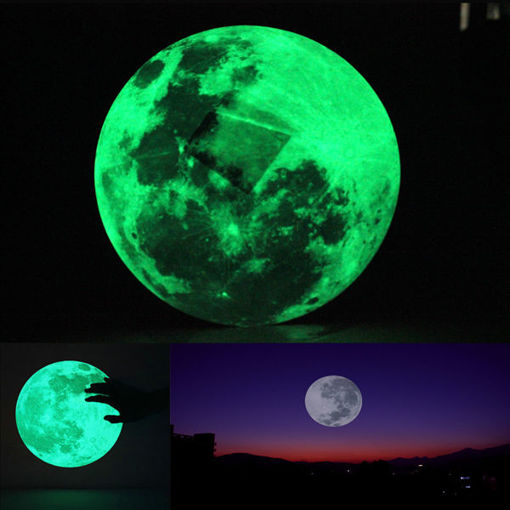 Immagine di 30cm Large Moon Wall Sticker Removable Glow In The Dark Sticker