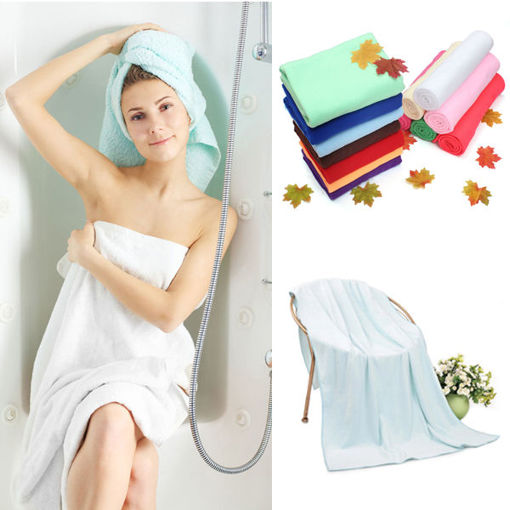 Immagine di 70 x 140cm Absorbent Microfiber Bath Towel Beach Quick Dry Washcloth Shower Towel Soft Home Textile Wide Thick Towel