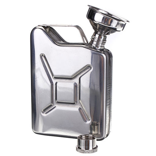 Immagine di Portable 5oz Stainless Steel Mini Hip Flask Liquor Whisky Pocket Bottle With Funnel