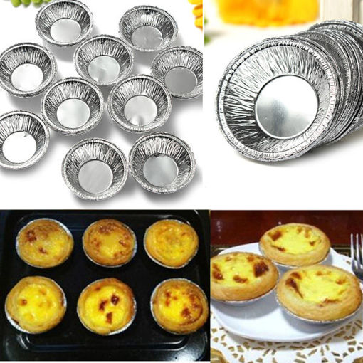 Immagine di 125Pcs  Disposable Round Silver Foil Baking Cookie Cup Cake Tart Mold