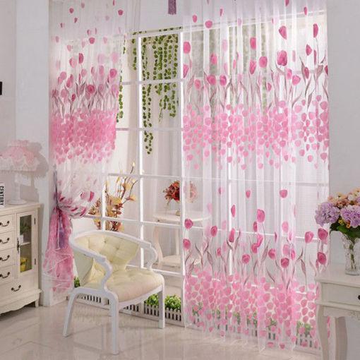 Immagine di 100x200cm Soft Tulle Tulip Flower Window Screen Home Sheer Window Curtain