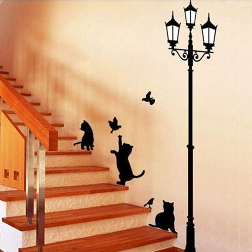 Immagine di 23x40CM Lamp Cat Wall Stickers Home Stairs Sticker Decor Decorative Removable Wallpaper