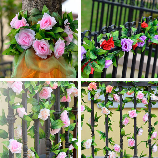 Immagine di 2.4m Artificial Plastic Rose Flower Green Leaves Garland Home Garden Wedding Party Decorations