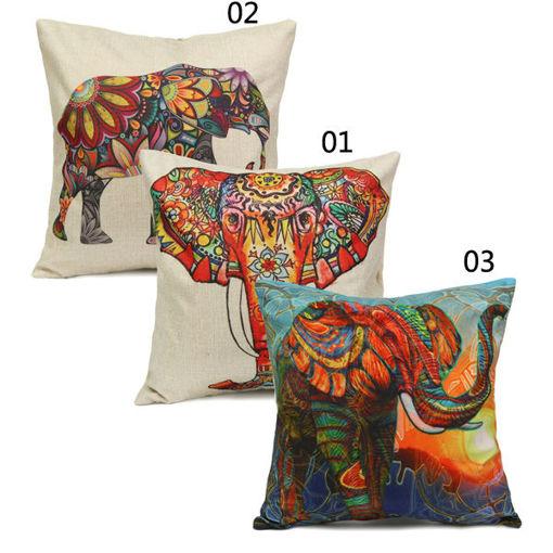 Immagine di Vintage Elephant Cotton Throw Pillow Case Waist Cushion Cover Home Sofa Car Decor