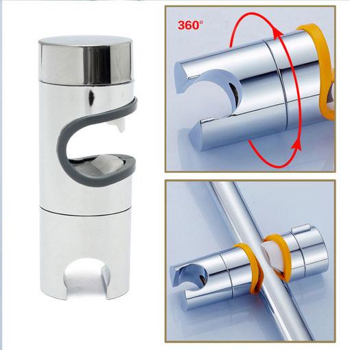 Immagine di Bathroom ABS Chrome Finished Shower Head Slider Rail Holder Adjustable Bracket