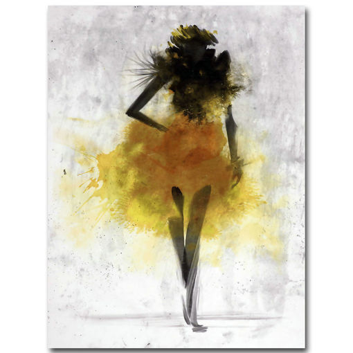 Immagine di Fashion Yellow Girl Minimalist Abstract Art Canvas Oil Print Paintings Framed/Unframed
