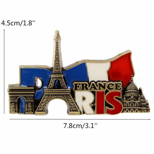 Immagine di Paris France Travel Collectible Metal Stereoscopic Fridge Magnet Sticker Tourist Souvenir