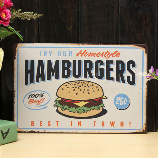 Immagine di Hamburgers Sheet Metal Drawing Retro Metal Painting Pub Club Cafe Poster Sign Tin Decor