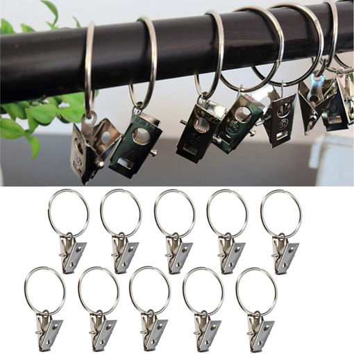 Immagine di 10pcs Metal Shower Curtain Rod Hook with Clip Bathroom Fitting