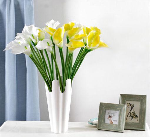 Immagine di 10Pcs Artificial Latex Calla Lily Flowers Wedding Flowers Bridal Bouquet