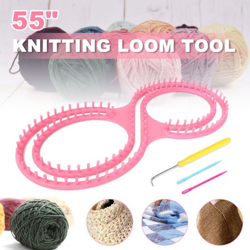 Immagine di Pink Round Knitting Knitter Craft Tool Kit for Sweaters Sock Scarf Hat Loom Ring