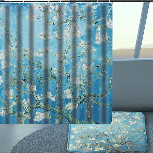 Immagine di Hand Painted Pear Waterproof Fabric Bathroom Shower Curtain Hooks Home Decor
