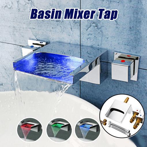 Immagine di LED Waterfall Bathroom Basin Faucet Mixer Taps Wall Mounted Handheld Tub Filler Shower Dual Handles