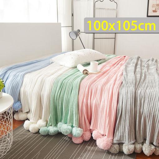Immagine di 100x105CM Knitting Blankets Cute Pom Sofa Throw Mat Bedroom Comfort Sleep Nap Quilt