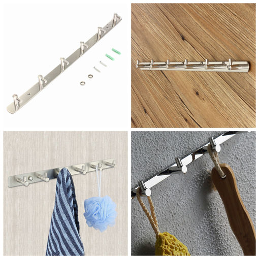Immagine di 6 Home Hooks Coat Hat Clothes Holder Rack Hook Wall Towel Hanger Stainless Steel Hook