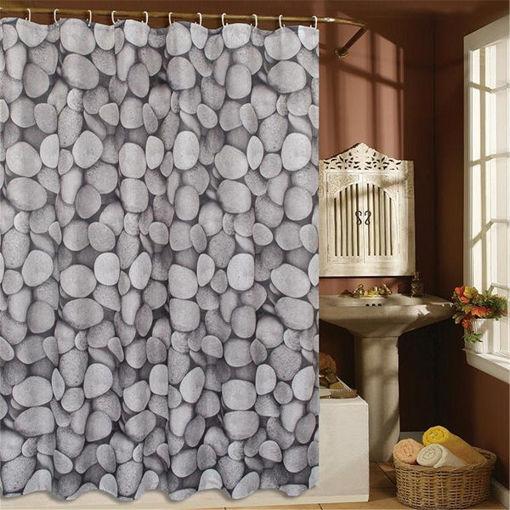 Immagine di Polyester Waterproof Cobblestone Shower Curtain Bathroom Home Decor Hooks Set