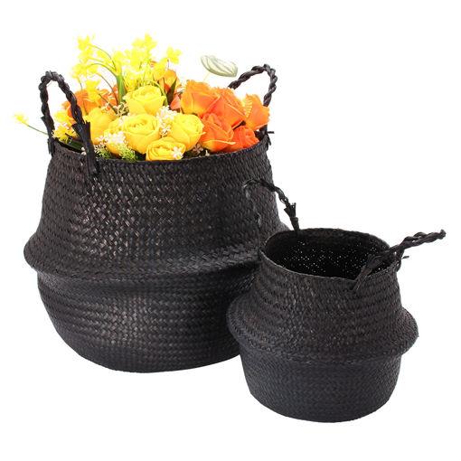 Immagine di Black Seagrass Belly Basket Storage Holder Plant Pot Bag Home Decoration Storage Baskets