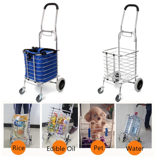 Immagine di Folding Portable Shopping Basket Cart Trolley Trailer Four Wheels Aluminum Alloy Storage Baskets