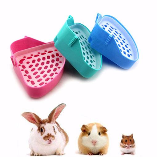 Immagine di Corner Toilet Litter Pee Tray For Animal Cat Kitten Rabbit Hamster Guinea Pig Toilet