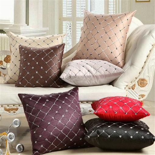 Immagine di 17'' Square Embroidered Pillow Case  Home Decor Grid Waist Throw Cushion Cover