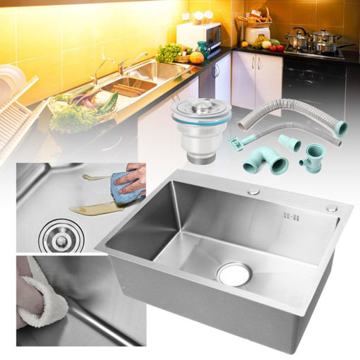 Immagine di Stainless Steel Single Bowl Kitchen Sinks Commercial Home Top 60x45cm With Sewer Device Pipe Drainer